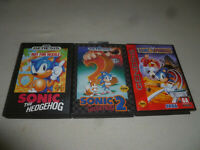 SEGA GENESIS SONIC THE HEDGEHOG VIDEO GAME LOT OF 3 GAMES 1 2 SPINBALL