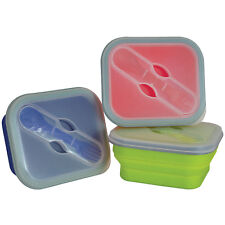 Small Pack Away Silicone Lunch Box Collapsible Green/Red/Blue Yellowstone