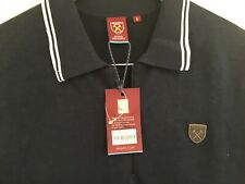 West Ham United FC Whufc Navy Marl Knitted Zip Polo Shirt in Size Small BNWT