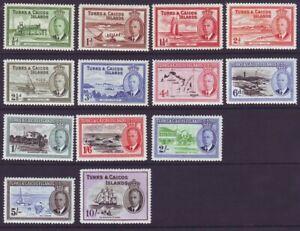 Turks & Caicos Islands 1950 SC 105-117 MH Set
