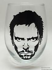 Hugh Laurie (House) Hand Painted Stemless Wine Glass