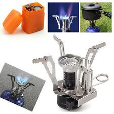 Outdoor Portable Mini Picnic Butane Gas Burner Camping Hiking Steel Stove & Case