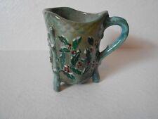 Small Green Glaze Pottery Hand Painted Winter Christmas Holly Creamer Dalene