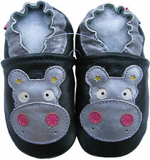 carozoo hippo dark green 3-4y soft sole leather toddler shoes