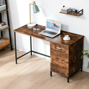 Rustic Brown Computer Desk Home Writing Table Office Desk with Drawer Cabinet