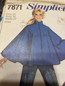 Vtg 1968 Simplicity Ladies Sz 14 Poncho Cape Jacket Bell Bottom Pants Pattern
