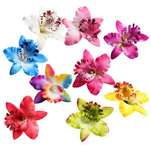 10pcs Artificial Silk Orchid Flower Heads for DIY Garland Wedding Crafts 9cm