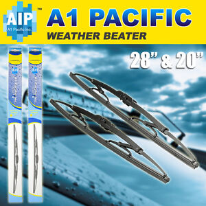 "Metal Frame Windshield Wiper Blades J-HOOK 28"" & 20"" OEM Quality"
