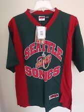 NWT Old Stock Seattle Supersonics Graphic Printed Basketball Jersey Shirt Men M