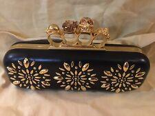 Alexander McQueen Black Leather Skull Knuckle Clutch Purse Handbag W/ Gold Studs
