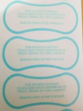 50 Hygiene Protection Adhesive Labels for Swimwear/Underwear, Blue Print