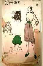 Vintage 40's-50s PANTS TROUSERS BLOOMERS SHORTS BUTTERICK Sewing Pattern