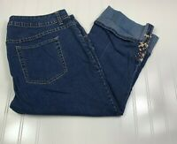 Avenue Jeans Embroidered Crop Cuff Jeans Womens Plus Size 16 Blue Stretch