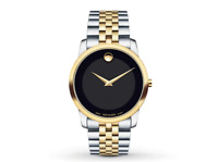 MOVADO $995 MEN'S TWO-TONE BLACK DIAL 40MM MUSEUM CLASSIC SWISS WATCH 0606899