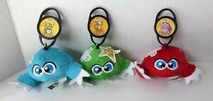 McDonalds Happy Meal Neopets KIKO Plush Lot 3 Blue Green Red + PetPet Clips 2005