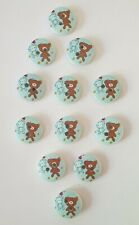 12 Blue & Brown Teddy Bear Buttons Size 15mm
