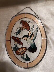 Hummingbird Stained Glass Vintage Bird Art Wall Hanging Leaded Suncatcher
