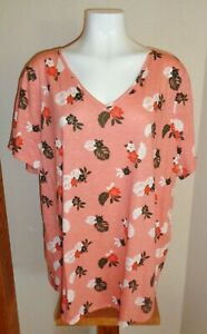 EVRI Women's Plus Size 2X Fall Floral V-Neck Tee Shirt Top NWOT