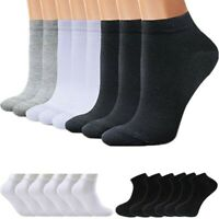 3 6 9 12 Pairs Mens Womens Solid Black White Sport Ankle Low Cut Cotton Socks