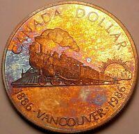 1986 CANADA 1 ONE SILVER DOLLAR PROOF COLOR ORANGE TONED BU UNC WONDERFUL (DR)
