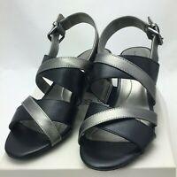 Bandolino Women's STEPA Heeled Sandal, Soft Black/Pewter Size 5M US