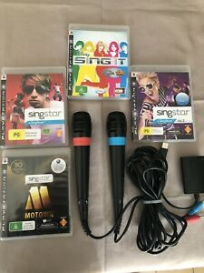 Ps3 Singstar Bundle- 4x Singstar PS3 Games + Original Singstar 2x Microphone's !