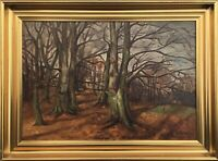 Herbstimpressionen IN Forest Oil Painting With Profilrahmen Antique 1935 Signed