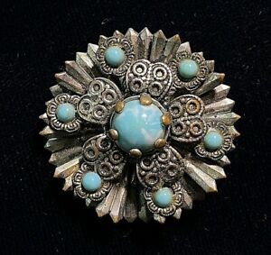 VINTAGE ANTIQUE SILVERTONE TURQUOISE  PIN / BROOCH