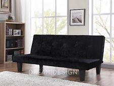 Crushed Velvet Fabric Sofa Bed 3 Seater Modern Designer Sofabed Silver or Black