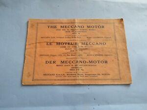 Instructions for early Meccano clockwork motors