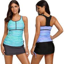 Greenish filtered stripe mesh racherback tankini swimsuit summer womens swimwear