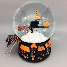 Halloween Musical Snow Globe Witch Black Cat Broomstick LED Light Village Decor