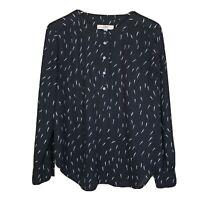Ann Taylor LOFT Black & White Print Blouse 1/2 Button Front Semi Sheer Sz Medium