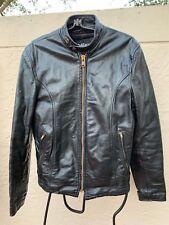 Vintage 60's Wilson Black Leather Motorcycle Racer Cafe Jacket W/ Liner Sz 36