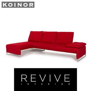 Koinor Designer Fabric Sofa Red Corner Sofa Couch