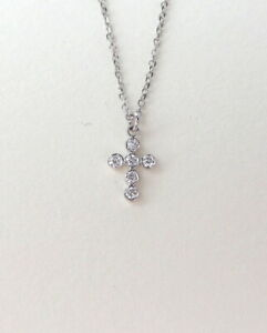 SMALL DIAMOND CROSS NECKLACE 14K WHITE GOLD 0.07CT NATURAL EARTH MINED DIAMONDS