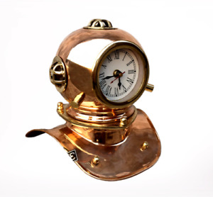"8"" Brass Diving Helmet With Clock Maritime Diver For Table Top & Gift Item"