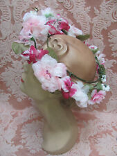 Vtg 1950s *Ethereal Mid-Summer Night's Dream Circlet Open-Crown Hat *Wild Roses