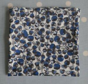 Liberty Tana lawn handkerchief hankie pocket square blue grey ivory buds