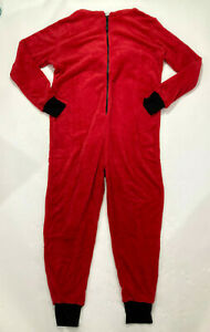 Totally Pink Juniors Red Devil Plush Fleece Hooded One-Piece Pajamas Size XL