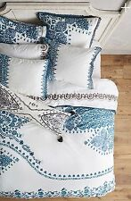 Anthropologie Oakbrook Queen Duvet Cover Teal + 2 Euro Shams NEW Georgina Grey !