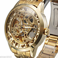 Gift for Men's Luxury Gold Skeleton Automatic Mechanical Sport Army Wrist watch