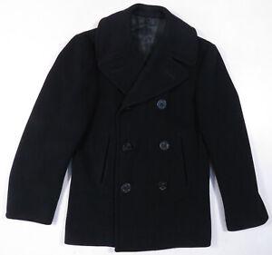 Vintage Kersey US Navy Midnight Blue Military Wool Mens Heavy Peacoat Jacket 34S