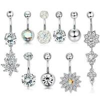 9 Pcs 14G Dangle Belly Button Rings CZ Stainless Steel Navel Piercing Barbell