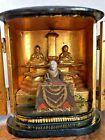 19Th EDO Era Three Buddhas Statue with Zushi Box Japanese Antique Buddhism Art