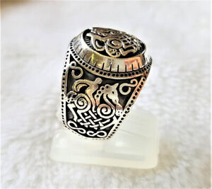 Odin Horse 925 Sterling Silver Ring Sleipnir Steed Viking Ring Scandinavian Sacr
