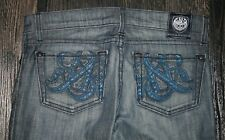 ROCK & REPUBLIC Distressed Boot Cut Jeans  Stretch  Leather Logo  25 x 32   NWOT