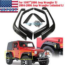 "6"" Black ABS 1997-06 Jeep Wrangler TJ Fender Flares Trim Protector 6 Pcs/SET US"