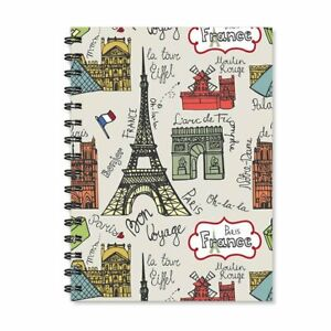 A5 Spiral Notebooks Eiffel Tower Printed Stationery & School Home Office Diary