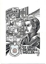 """EUGEN F. STROBEL-MATZA: Exlibris für Dr. B. Müller, """"Hans Freiherr v. Aufsess"""""""